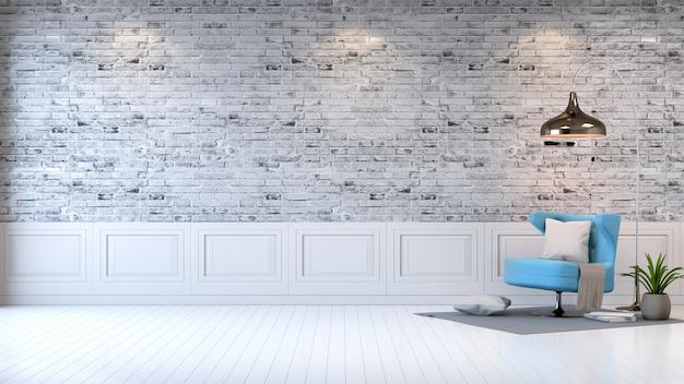 Modern zolderbinnenland van woonkamer, blauwe leunstoel op heldere grijze bakstenen muurachtergrond