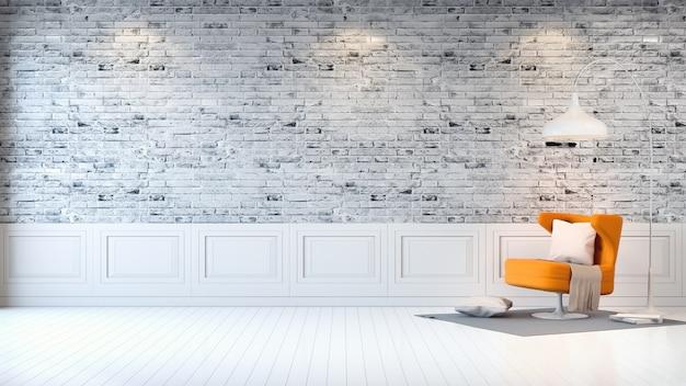 Modern zolderbinnenland van woonkamer, gele leunstoel op heldere grijze bakstenen muurachtergrond