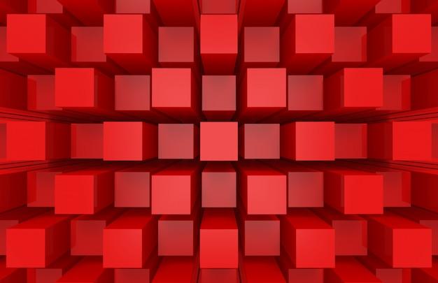 Moderne abstracte willekeurige rode vierkante kubus box bar stapel muur