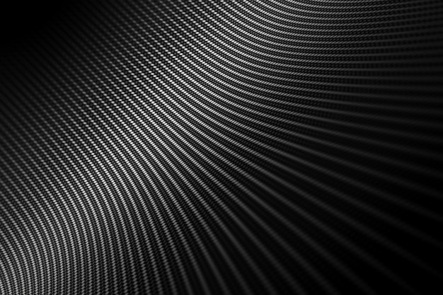 Moderne achtergrond met vervormde zwarte koolstofvezel glad op oppervlak onder hoek.