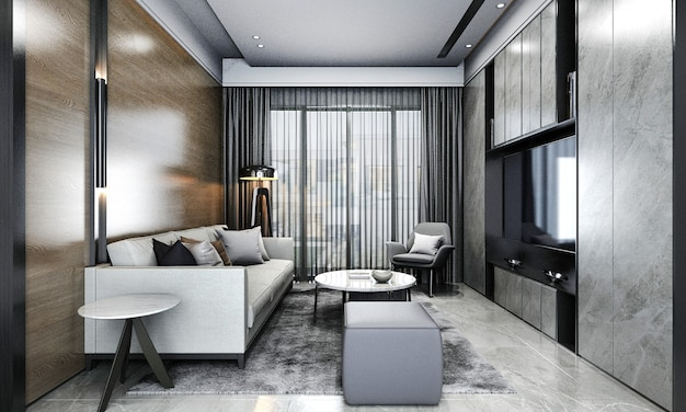 Moderne appartement en woonkamer en houten muur textuur achtergrond interieur design