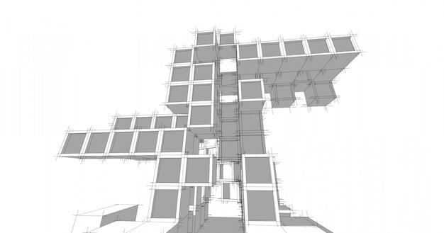Moderne architectuur in een prachtige metropool. uit de vrije hand lijntekening illustratie, 3d illustratie.