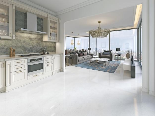 Moderne art deco keuken met klassieke elementen. glazen gevel en inbouwapparatuur. interieur in beige kleuren. 3d-weergave.
