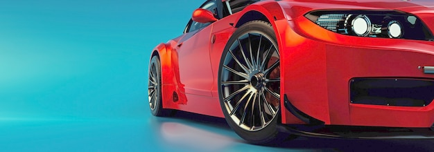 Moderne auto's staan in de studiokamer. 3d illustratie en 3d render.