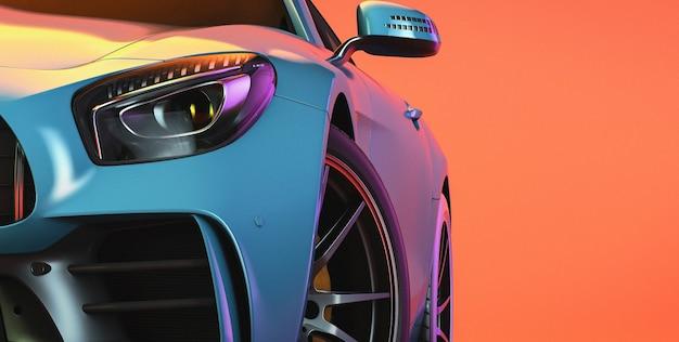 Moderne auto's staan in de studioruimte. 3d render en illustratie.