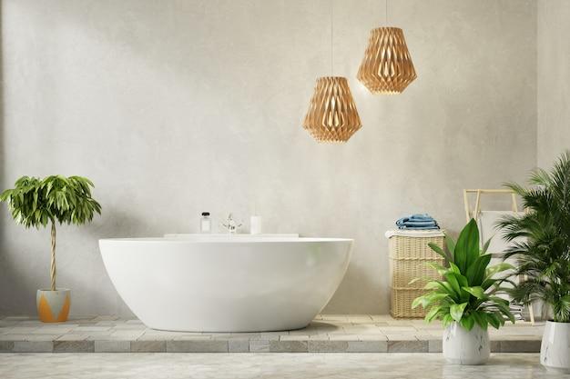 Moderne badkamer met cementmuur
