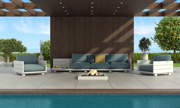 Moderne bank en fauteuils bij het zwembad onder een houten dak, met vuurpot en tuin op achtergrond - 3d-rendering