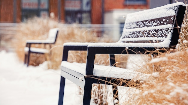Moderne bank in zolderregeling in sneeuw terwijl sneeuwval.