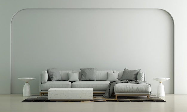 Moderne bankdecoratie en gezellig woonkamerinterieur en lege muurpatroonachtergrond