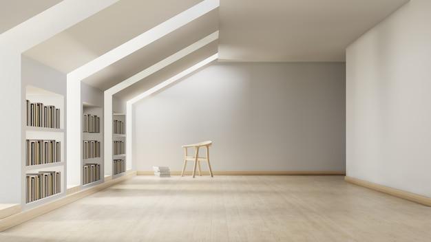 Moderne bibliotheek met een individuele studieruimte met stoel.