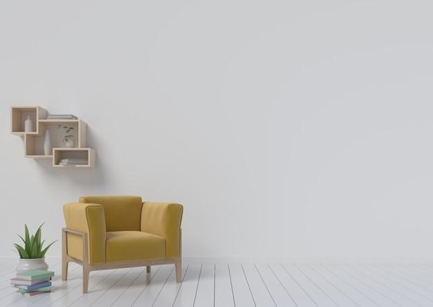 Moderne binnenkamer met gele leunstoel. 3d-weergave
