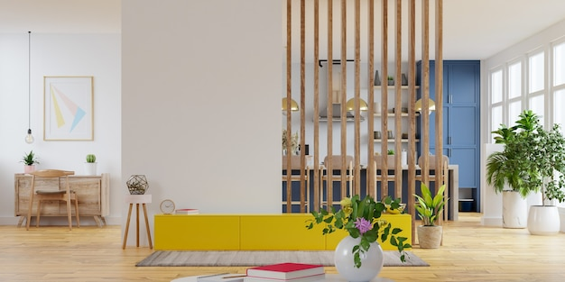 Moderne binnenkamer met meubels, tv-kamer, kantoorruimte, eetkamer, de keuken. 3d-weergave
