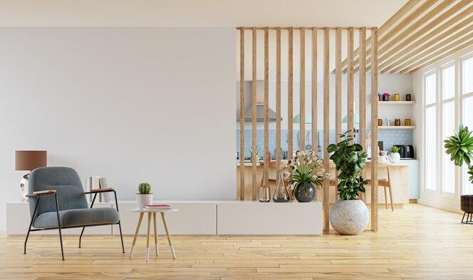 Moderne binnenruimte met meubilair. 3d-weergave