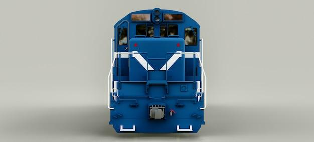 Moderne blauwe diesel-locomotief met grote kracht en sterkte voor het verplaatsen van lange en zware spoorwegtrein. 3d-weergave