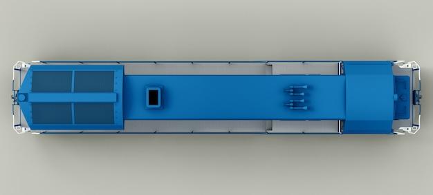 Moderne blauwe dieseltreinlocomotief met groot vermogen en kracht voor het rijden van lange en zware spoorwegtreinen. 3d-weergave.
