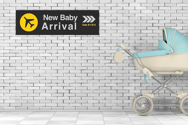 Moderne blauwe kinderwagen, kinderwagen, kinderwagen met nieuwe baby aankomst luchthaven teken voor bakstenen muur. 3d-rendering