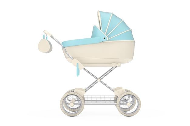 Moderne blauwe kinderwagen, kinderwagen, kinderwagen op een witte achtergrond. 3d-rendering