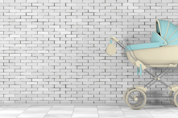 Moderne blauwe kinderwagen, kinderwagen, kinderwagen voor bakstenen muur. 3d-rendering