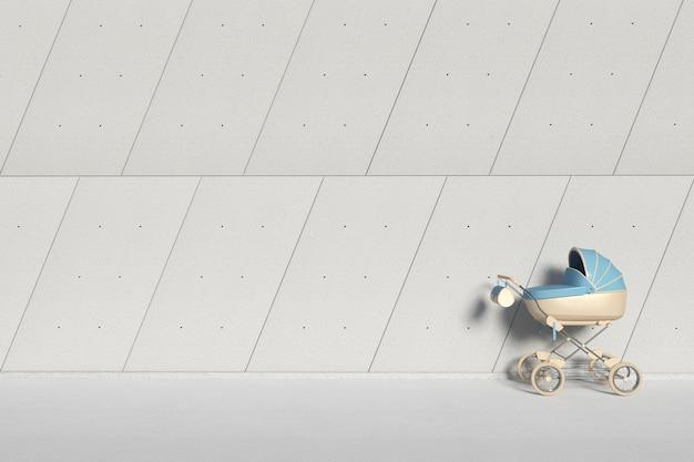 Moderne blauwe kinderwagen, kinderwagen, kinderwagen voor industrieel gebouw buiten panelen betonnen muur extreme close-up. 3d-rendering