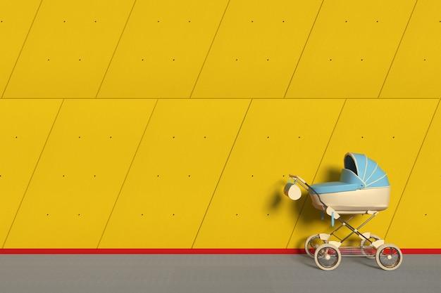 Moderne blauwe kinderwagen, kinderwagen, kinderwagen voor industrieel gebouw buiten panelen gele betonnen muur extreme close-up. 3d-rendering