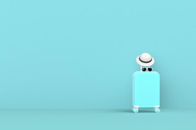 Moderne blauwe kofferszak met zonglazen en hoed op blauwe achtergrond. reizen concept. vakantie trip. kopieer ruimte. minimale stijl. 3d-rendering illustratie