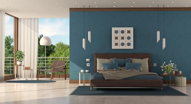 Moderne blauwe slaapkamer van een moderne villa