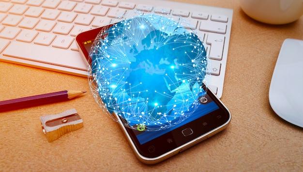 Moderne blauwe wereld en mobiele telefoon