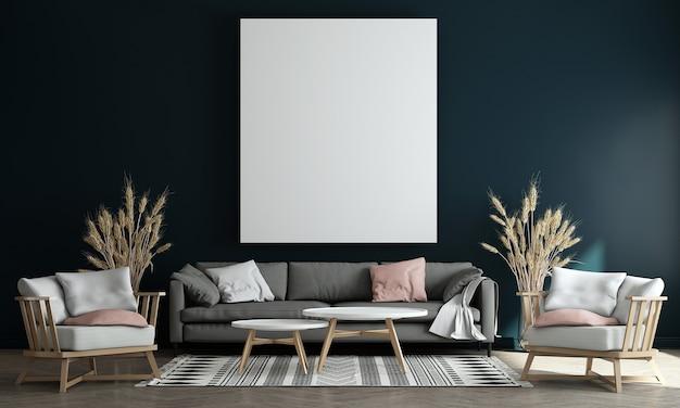Moderne blauwe woonkamer interieur met decoratie en lege mock-up fotolijst 3d-rendering, 3d illustratie
