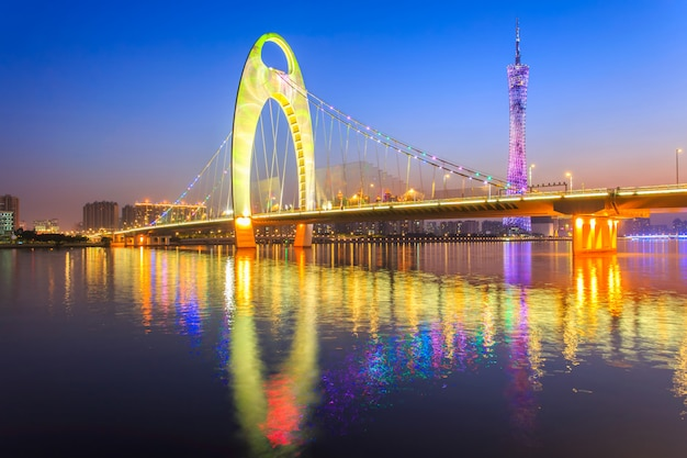 Moderne brug in zhujiang-rivier en de moderne bouw van financieel district in guangzhoustad