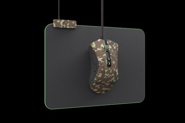 Moderne camouflage gaming muis op professionele pad geïsoleerd op zwarte achtergrond met uitknippad. 3d-rendering en live streaming-concept