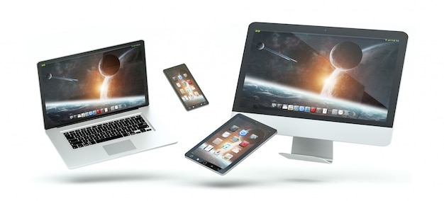 Moderne computerlaptop mobiele telefoon en tablet die het 3d teruggeven drijven