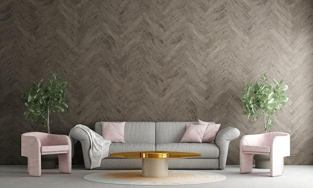 Moderne decoratie mock up interieur van woonkamer en houten muur patroon achtergrond 3d-rendering