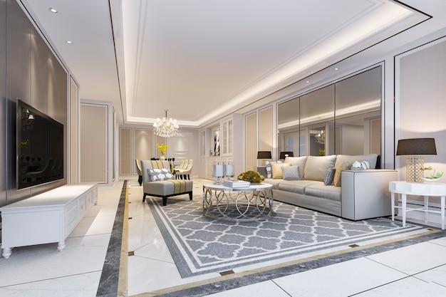 Moderne eetkamer en woonkamer met luxe inrichting en stoffen bank in de buurt van spiegel