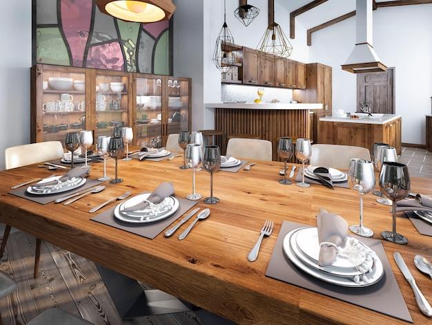 Moderne eetkamer ingebouwd in de keukenruimte