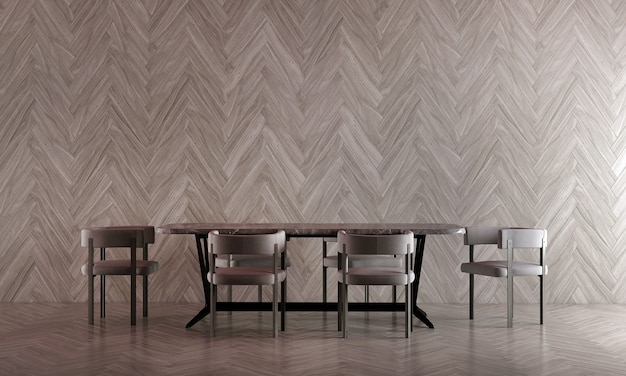 Moderne eetkamer interieur en houten textuur muur achtergrond