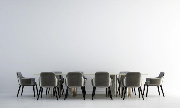 Moderne eetkamer interieur en witte textuur muur achtergrond