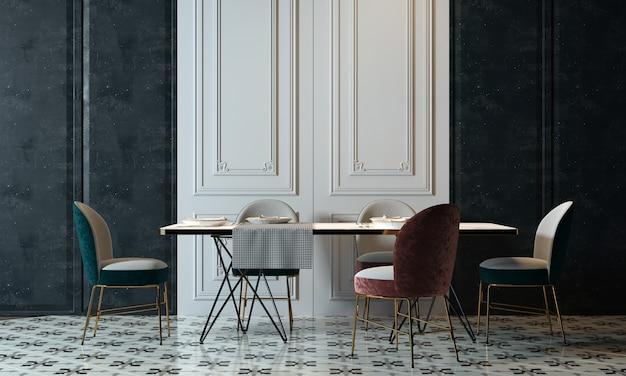 Moderne eetkamer interieur met decoratie en lege mock-up fotolijst 3d-rendering, 3d illustratie