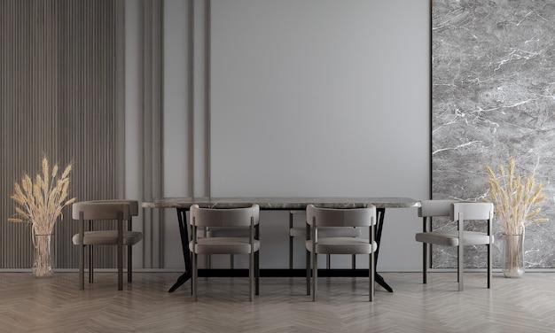 Moderne eetkamer interieur met decoratie en lege mock-up meubels, 3d-rendering, 3d illustratie