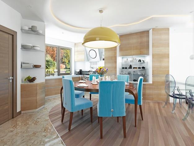 Moderne eetkamer met keuken in een trendy kitsch