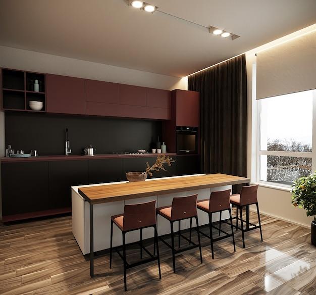 Moderne eetkamer met keukenmeubilair, gratis