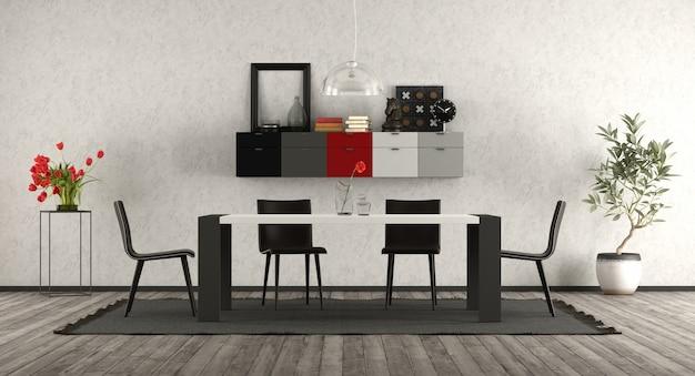 Moderne eetkamer met zwart en wit meubilair