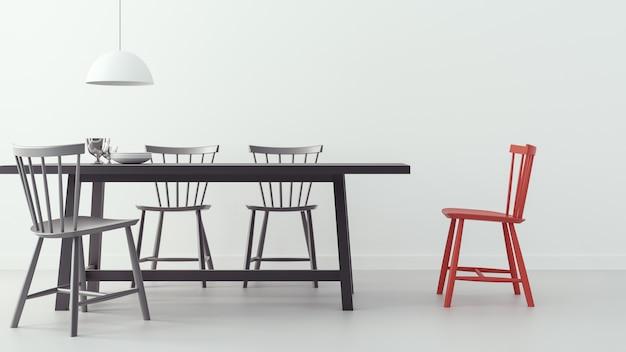 Moderne eetkamer & witte achtergrond