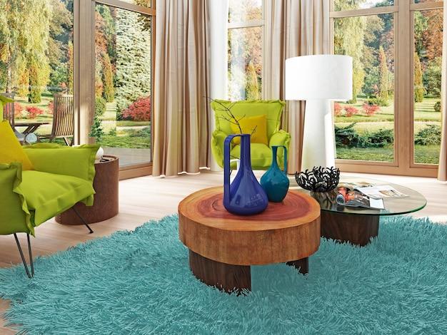 Moderne eigentijdse lichtgroene stoel in de woonkamer en fauteuil