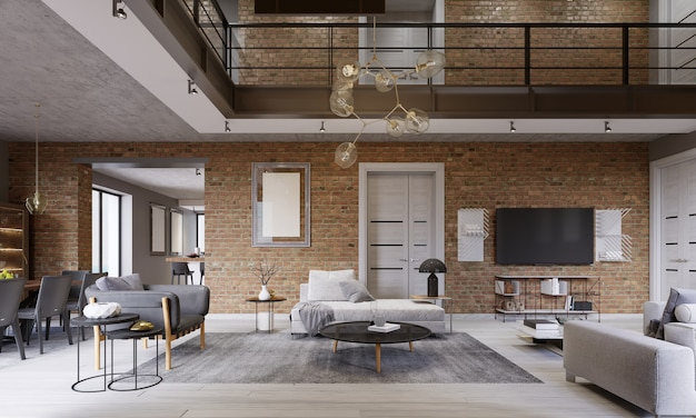 Moderne eigentijdse loft design woonkamer appartement interieur. 3d-rendering