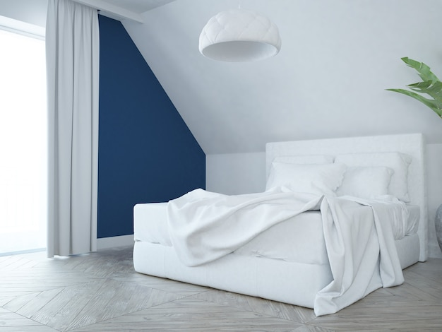 Moderne elegante luxe witte, roze en blauwe slaapkamer