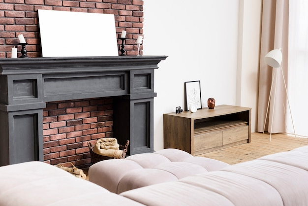 Moderne, elegante woonkamer met open haard