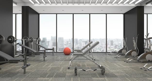 Moderne en luxe fitness en fitnessruimte met tapijt en stadsgezicht vanuit raam