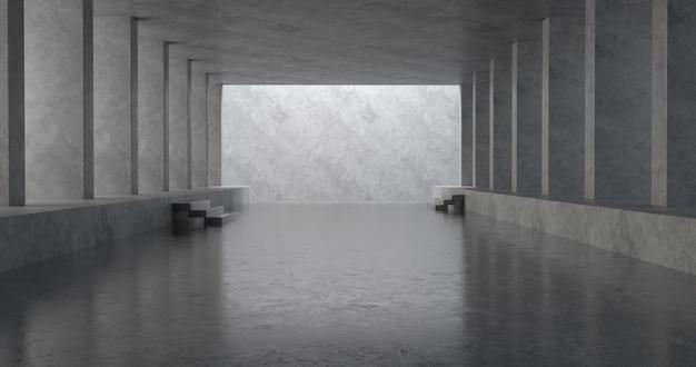 Moderne enorme betonnen materiaal lege zaal met veel kolommen.