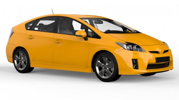 Moderne familie hybride auto geel met een schaduw op de grond. 3d-weergave