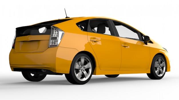 Moderne familie hybride auto geel op wit met schaduw ter plaatse